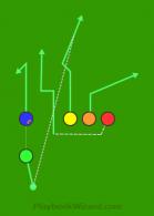 Shotgun Trips C5JN Yellow Corner is a 5 on 5 flag football play