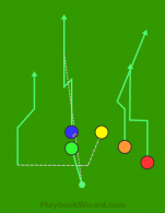 Trips Wing KGJC Blue Hitch And Go is a 5 on 5 flag football play