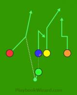 Spread 0JBC Red Dart is a 5 on 5 flag football play