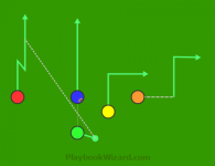 Shot Slot 39I3 Red Stop And Go is a 5 on 5 flag football play