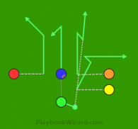 Twins Stack L945 Orange Hitch is a 5 on 5 flag football play