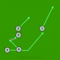 Angle - Left is a 5 on 5 flag football play