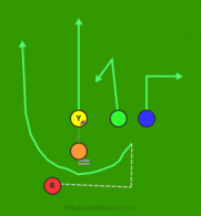13R Triangle Right - Reverse Left (Red) is a 5 on 5 flag football play