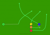 14R - Scissors (Blue) is a 5 on 5 flag football play