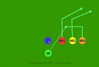 Trips Up Slant - Outside WR3 underneath is a 5 on 5 flag football play