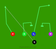 Q PASS fade H is a 5 on 5 flag football play