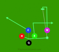 diamond H PASS slot wide is a 5 on 5 flag football play